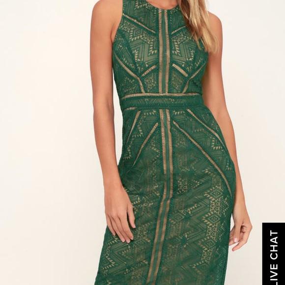 Bardot Dresses & Skirts - NWT Bardot EVE DARK GREEN LACE SHEATH MIDI DRESS